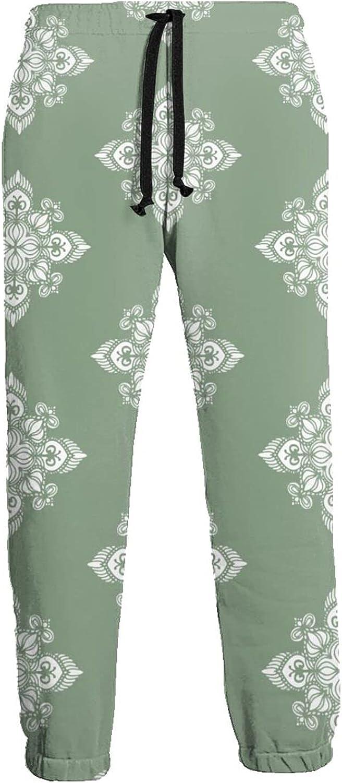 Men's Jogger Sweatpants White Ethnic Flowers Pattern 3D Loose Joggers Pants with Drawstring Long Pants