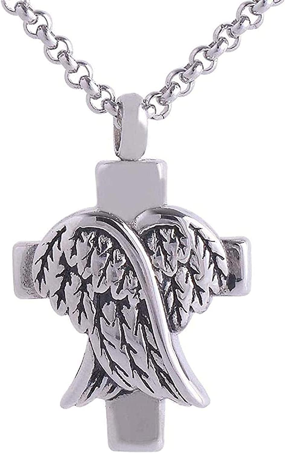 Memorial Jewelry Cremation Jewelry Urn Memorial Urn Necklace Memorial Ash Souvenir Cremation Screw Memorial Pendant Cross and Angel Wing Urn Necklace Medal Souvenir