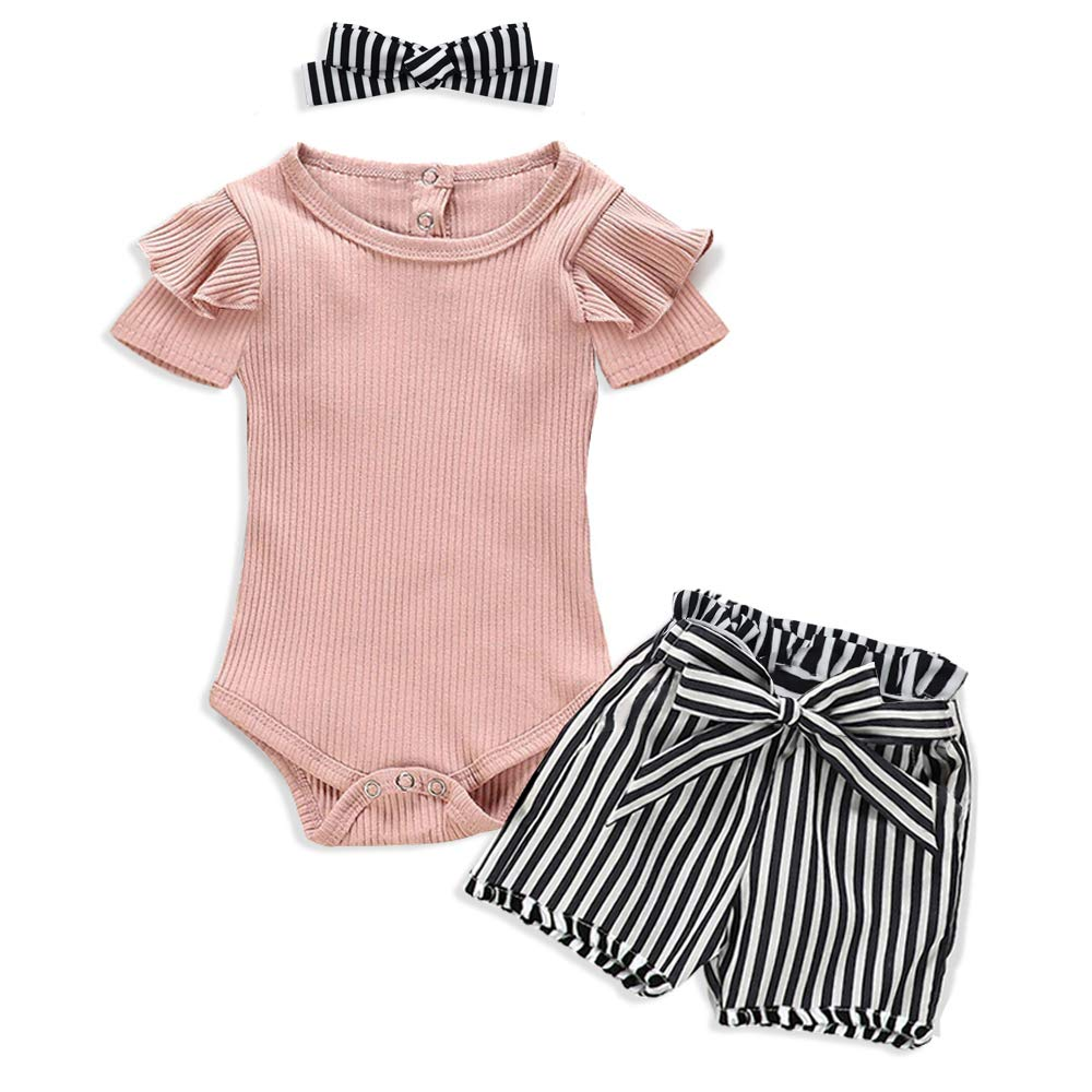 Newborn Baby Girl Clothes Solid Color Romper + Stripe Pants 8PCS
