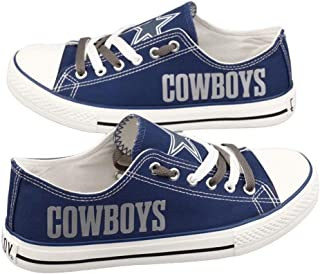 Littlearth Dallas Cowboys Football Team Canvas Shoes Sneakers Fashion Comfortable Casual Low Cut Lace Up Football Walking Shoes Sport Shoes for Adult Youth Men Women