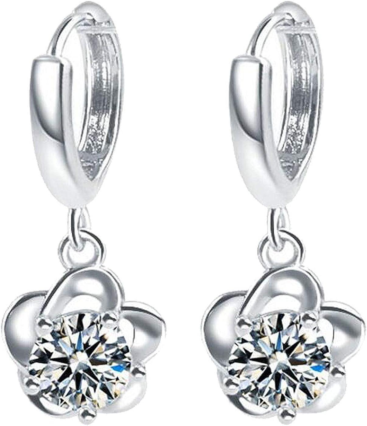 Cuff Earrings for Women Girls Piercing Cuff Wrap Flower Earrings Cubic Zirconia Drop Dangle Plum BlossomTassel Crystal Jewelry