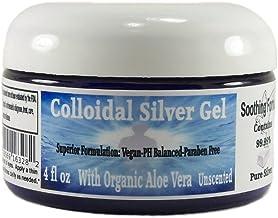 Superior Colloidal Silver Gel Big 4 oz. Jar Made with Organic Aloe Vera, 100 PPM 99.99 % Pure Silver, & Sim...