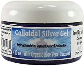 Superior Colloidal Silver Gel Big 4 oz. Jar Made with Organic Aloe Vera, 100 PPM 99.99 % Pure Silver, & Simple Safe Ingredients