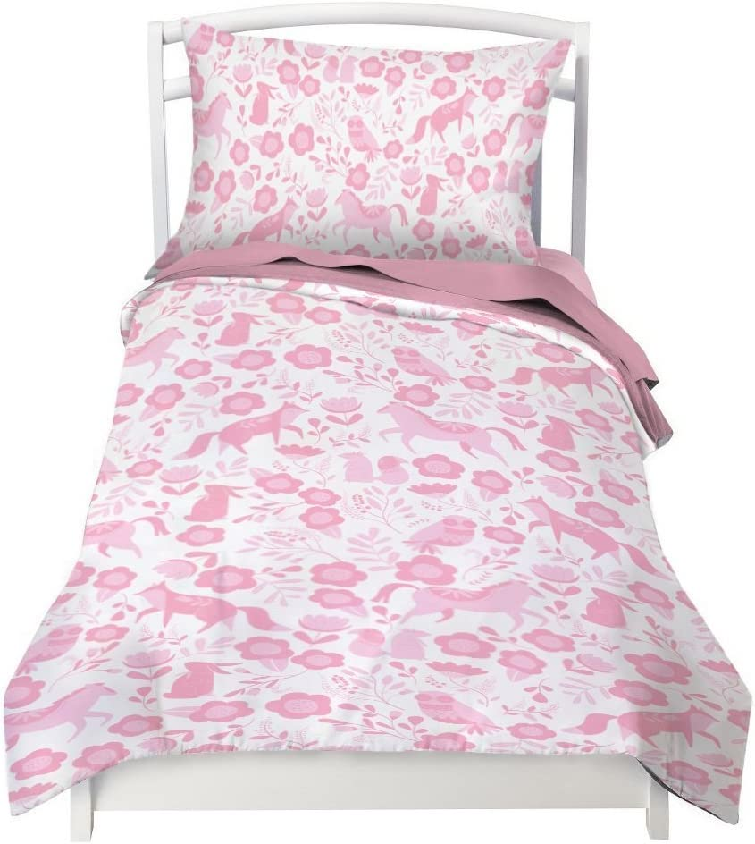 Where The Polka Dots New arrival Roam Twin wholesale Cov Forest Duvet Pink Folk Animal