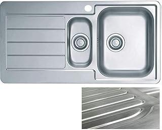 VBChome: Einbauspüle mit Hahnloch Abtropffläche Links 980 x 500 mm Camping Küchenspüle - Satinstruktur Alveus Line 10 Spülbecken EDELSTAHL 1,5 Becken Ablaufgarnitur
