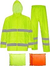 Rain Jacket with Pants for Men Women Waterproof Rain Coat 3-Pieces Ultra-Lite Suits (Large, Fluorescent(Reflective Tape))