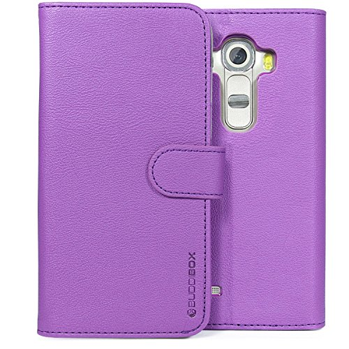 LG G4 Case, BUDDIBOX [Wallet Case] Premium PU Leather Wallet Case with [Kickstand] Card Holder and ID Slot for LG G4, (Purple)