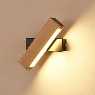 Lámpara de Pared Interior Madera, Luz de Pared LED Giratoria de 360 Grados, Dormitorio Sala de Estar Oficina Pasillo IluminacióN Interior, 4w Blanco Cálido 21*4CM