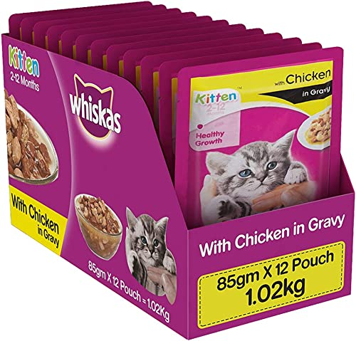 Whiskas Kitten (2-12 months) Wet Cat Food, Chicken in Gravy, 12 Pouches (12 x 85g) product image