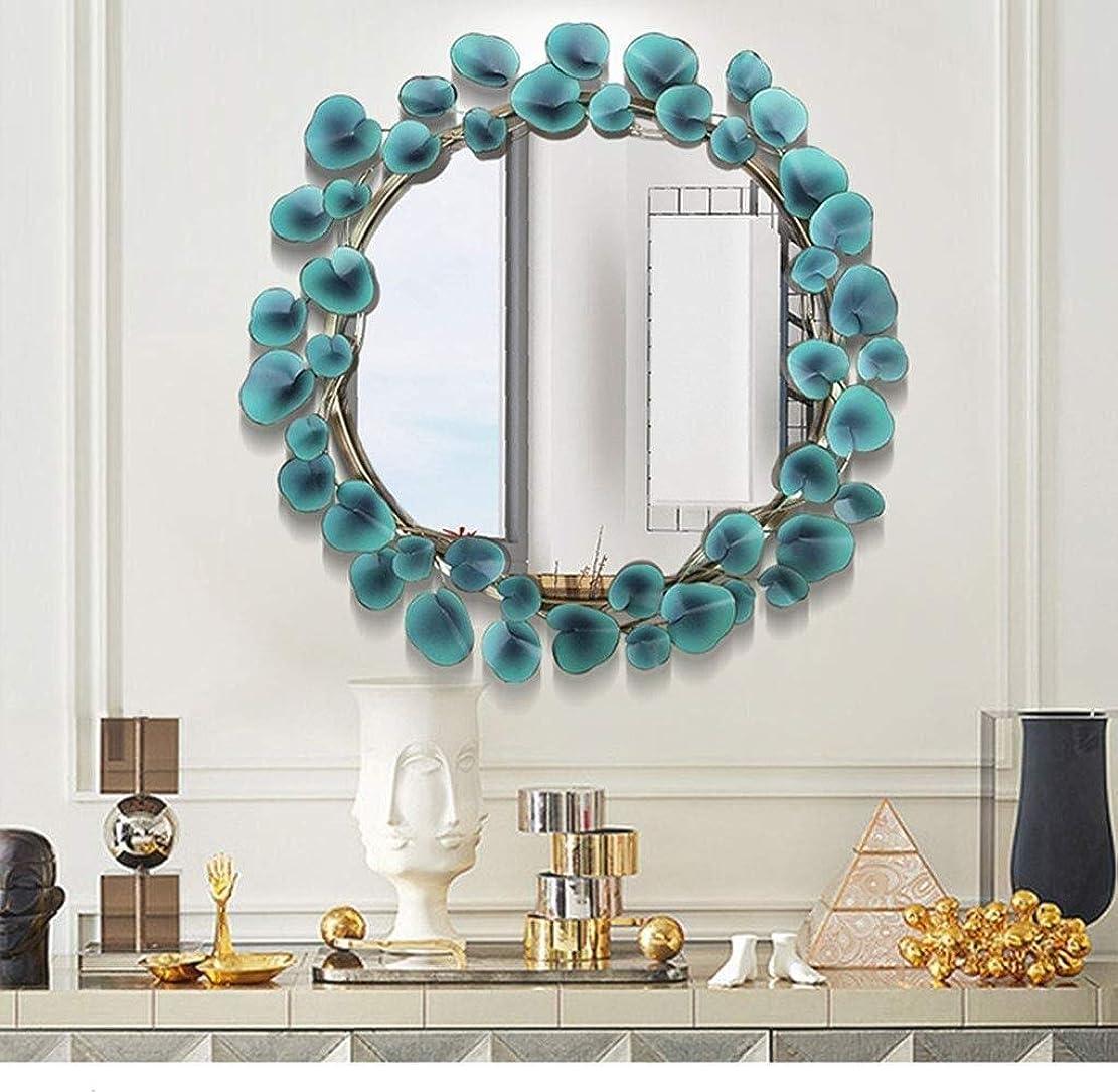 ピアノを弾くベジタリアン利益創造的な化粧鏡大型金属装飾壁鏡、ファッションラウンド創造的な葉の形の壁鏡、ダイニングルーム、リビングルーム、廊下ポーチ吊り鏡、玄関装飾鏡