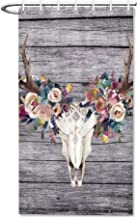 Danings Deer Skull Flower Shower Curtain for Bathroom Small Set 36 x 72 inches Fabric Water Repellent Odorless Bath Stall Size with 7 Hooks