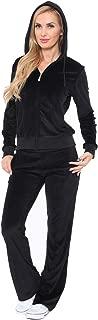 Women's Athletic Soft Velour Zip Up Hoodie & Sweat Pants Set Jogging Suit