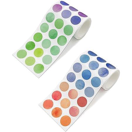 TANAKEY Washi Tape, Rubans adhésifs ronds autocollants colorés DOTS autocollants DIY Stickers Bandes Random Couleur (2 Rouleaux (900 Points))