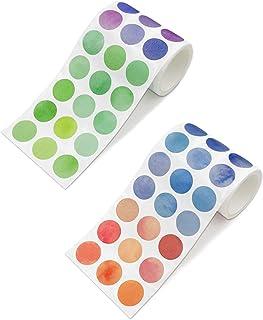 TANAKEY Washi Tape, 2 Rouleaux rubans adhésifs ronds autocollants colorés DOTS autocollants DIY Stickers Bandes Random Cou...