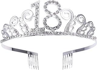 Beaupretty Corona per Compleanno 18 Anni Cerchietto Diadema Principessa Donna Tiara Strass Cristallo con Pettine (argento)