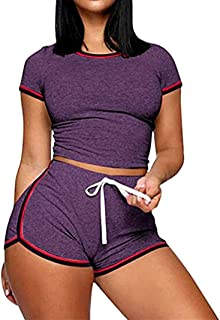 Women 2 Piece Workout Outfits Short Sets Sexy Bodycon Crop Top Shirts & Sports Shorts Activewear Set