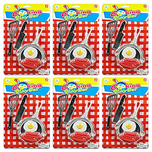 Kids Cooking Party Favors Kitchen Playset 6 Pack ~ Breakfast Playset Eggs and Sausage Breakfast Toy Food   Baking Party Favors for Kids with Toy Whisk, Pan, and More (Chef Party Favors)