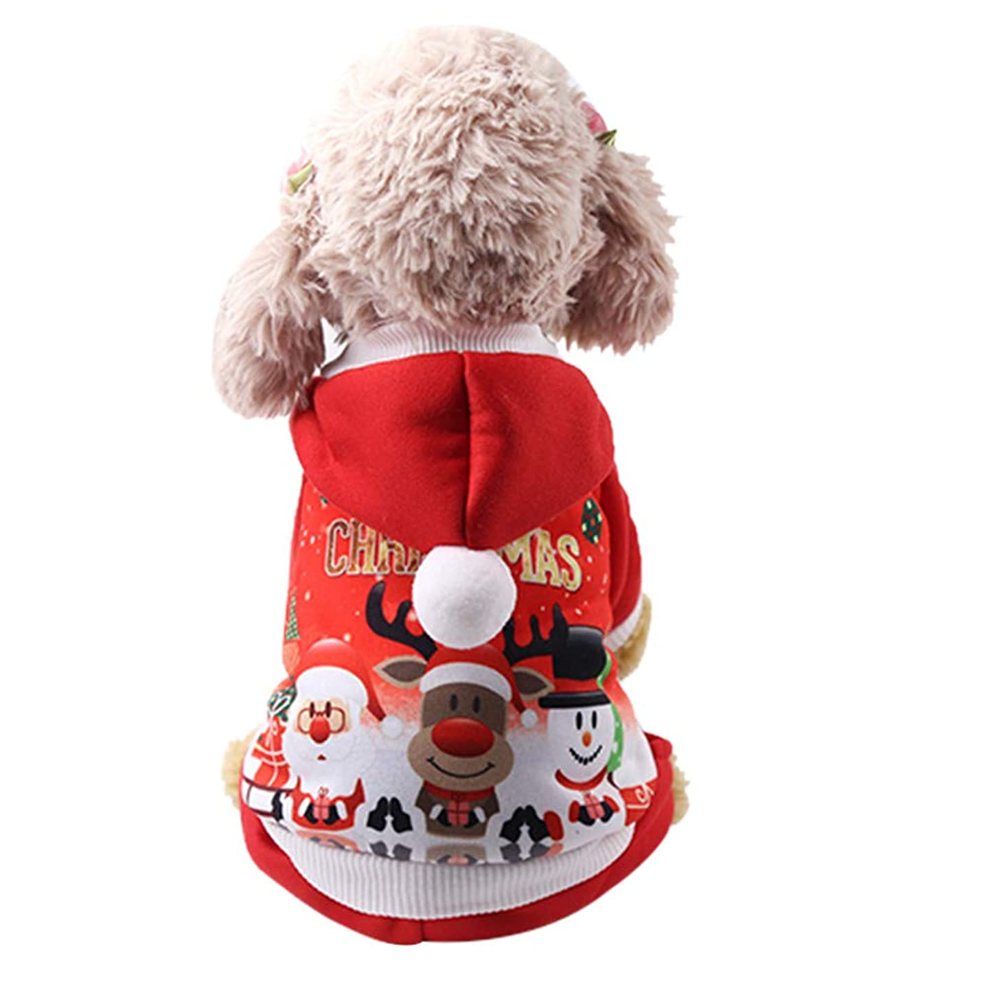 Vovomay Christmas Pet Puppy Hoodied Sweatshirts Dog Clothes Costume Buttons Design (M, Red)