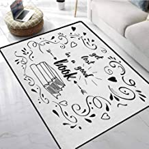 Runner Rugs Book,Get Lost in a Good Book Printed Quote with Hand Drawn Floral Pattern with Books Arrow Black White,for Living Room Bedrooms Kids Nursery Home Decor 26