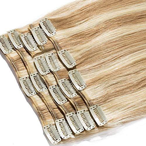 20-60cm Extension Capelli Veri Clip Remy Human Hair Lisci Lunghi Testa Piena Parrucca Vera (40cm-90g #12/613 Marrone Chiaro/Biondo)
