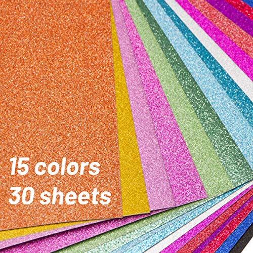 Glitter Cardstock Paper 30 Sheets A4 Sparkle Shinny Craft Paper for DIY Party Decoration 15 Colors 250GSM