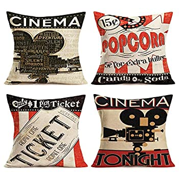 Movie Theater Pillow Covers Cotton Linen Vintage Cinema Background Cinema Poster Design Throw Pillow Cases with Popcorn/Filmstrip/Ticket Cushion Cover Home Sofa Decor 18  x 18  4 Pack  Cinema Poster