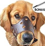 SEVICAT Bozales para Perros Cuero Anti-ladridos Anti-mordida Perro Esenciales Seguridad … (M, Brown)