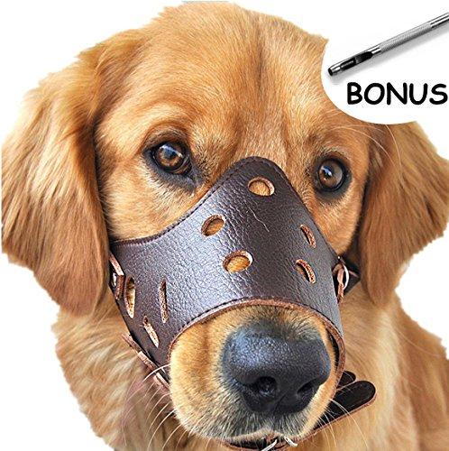 SEVICAT Bozales para Perros Cuero Anti-ladridos Anti-mordida Perro Esenciales Seguridad … (L, Brown)