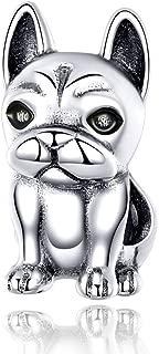 Bulldog Francés Perro Abalorios,Colgante y Dijes de Plata de Ley 925,Originales Charms para Collares y Pulseras