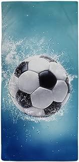 Modern Design Beach Towel Soccer Water Splash 27 x 54 Inches