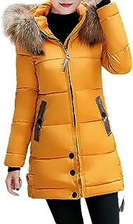 作り上げる毛布色合いTimsa 欧米風 ダウンジャケット 中綿コート レディース アウター 軽量 防風 ロング コート タヌキファー襟 フード付き 防寒着 厚手 トップス 秋冬 シンプル 女性用 フード付く 綿服 ミリタリーコート (イエロー 3XL)