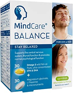 MindCare Balance, Natural Anxiety & Stress Relief Capsules, L-Theanine, Magnesium, Omega-3 & B Vitamins, 60 Count