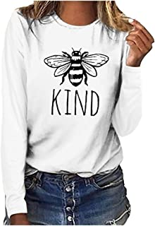 Winsummer Bee Kind Be Kind T Shirt for Women Long Sleeve Round Neck T Shirts Causal Blouses Tops Funny Graphic Tees