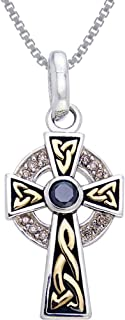 Sterling Silver Celtic Cross Pendant with CZ and 18k Gold-plating on 18 Inch Necklace