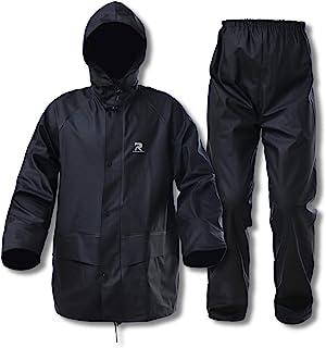 RainRider Rain Suits for Men Women Waterproof Heavy Duty Raincoat Fishing Rain Gear Jacket and Pants Hideaway Hood