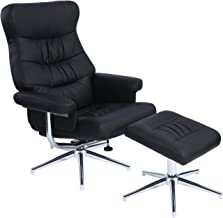 Homy Casa Swivel Recliner and Ottoman Chair Leather Lounge Armchair Set Leisure Seat with Foot Stool and Chrome Finished Base, Black