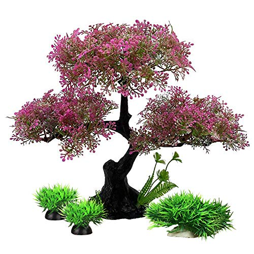 Aquarium Plants Fish Tank Decorations MediumSize/9.4inch Plastic Artificial Plant Goldfish Waterscape Fish Hides Tree Set (Hot Pink Set)