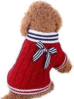 Rosennie_Haustiere Rosennie_Haustiere Kleidung Hundepullover Hundekleidung Kleine Hunde Winter Pullover Strampler Hunde Warmer Mantel für Katzen Kleine Welpe Teddy Pudel Hunde Kleider Sweater XXS, Rot