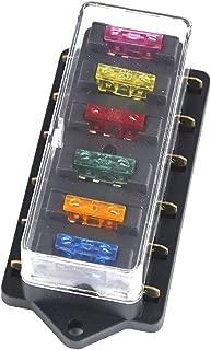 Qiorange Blade Fuse Board Box Holder 6 Way Circuit Blade Block +6 Pcs Free Fuse 12V/24V (Fuse holder 6 Way)