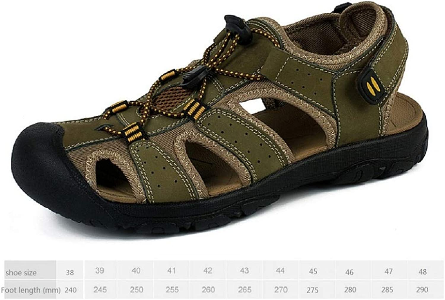 LZK Summer leather sandals men's outdoor beach shoes large size toe sandals anti-impact predection toe anti-slip wear null