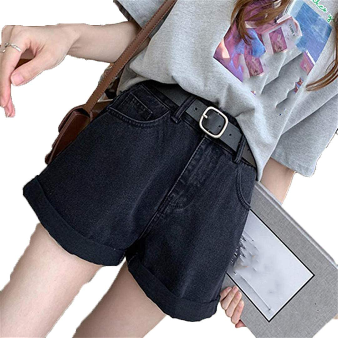 YHK Summer Women Denim Shorts with Belt Casual Wide Leg Loose Fit Jeans Shorts