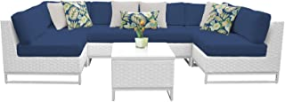 Delacora MIAMI-07D-NAVY Florida 7-Piece Aluminum Framed Outdoor Conversation Set with Accent Table