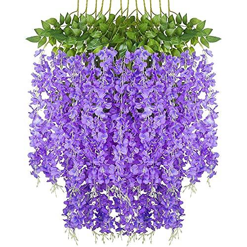 Paquete de 12 flores artificiales de glicina, planta de guirnalda, vid de flores colgantes falsas, para decoración de boda, jardín, fiesta en casa