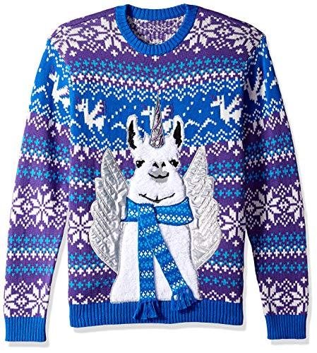 Blizzard Bay Men's Ugly Christmas Sweater Llama, Blue, Small