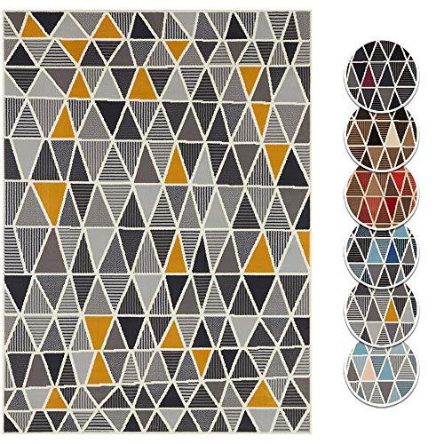 Tapeso Vloerkleed Triangle Design - Okergeel & Grijs, 180x260 cm | Modern Geometrisch voorjaars Tapijt