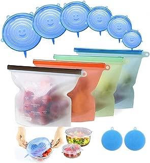 YUJOY Bolsa de Alimentos,JOQINEER Reutilizables Envase de Bolsas de Preservación Versátil de Grado Silicona Alimenticio para Frutas, Verduras, Sin BPA, higiénica y a Prueba de Fugas(Set of 12)
