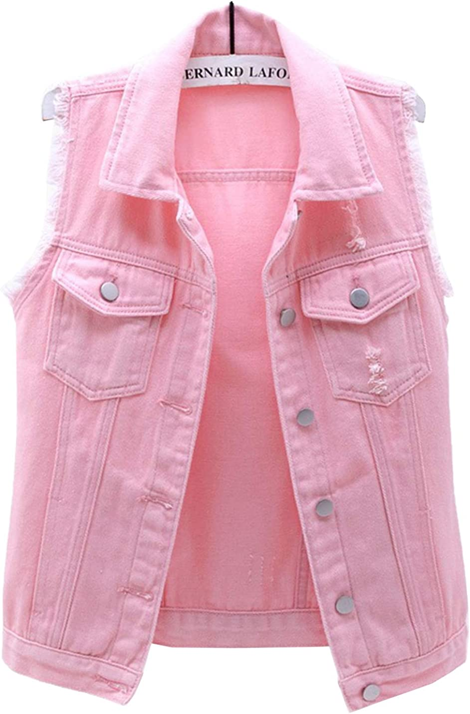 PEHMEA Women's Girls Distressed Sleeveless Button Up Cropped Jean Denim Jacket Vest