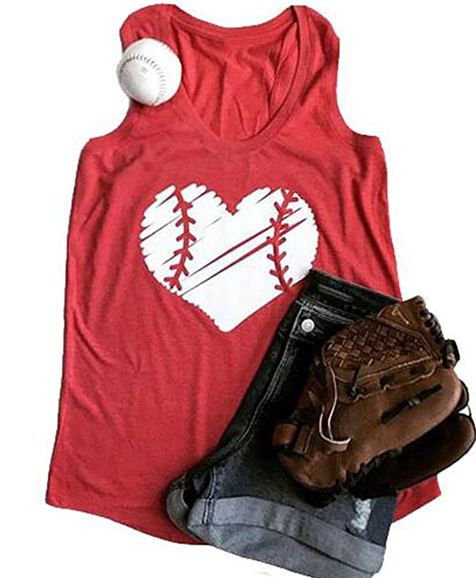 FAYALEQ Baseball Mom Heart Print Funny Tank Tops Women's Casual Sleeveless Shirt Vest Blouse Tees