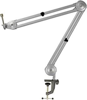 """Knox Boom Microphone Stand - Adjustable Scissor Arm Suspension Mic Holder - Table Mount, Durable Steel, 360° Rotation, 30"""" Silver - Studio Broadcasting, Voice Over, Podcast Recording"""