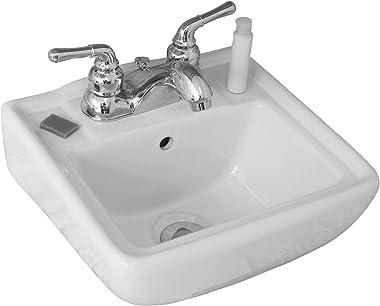 "Small Wall Mount Bathroom Sink 12.4""x11"" White"